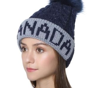 Canada cable knit winter hat with pom pom